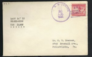 USS JASON AV-2 1932 LAST DAY IN COMMISSION NAVAL COVER with FANCY CANCEL F
