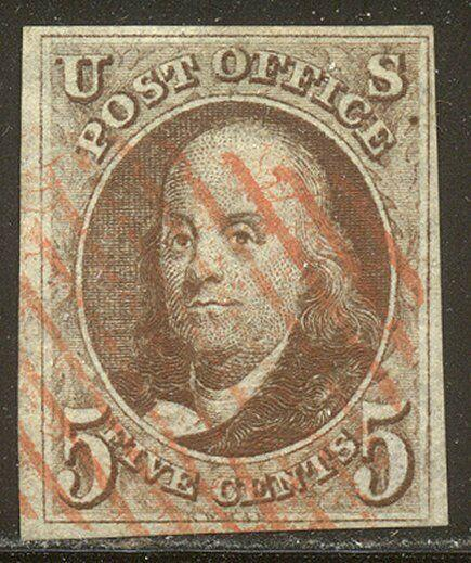 U.S. #1 Used BEAUTY - 1847 5c Brown