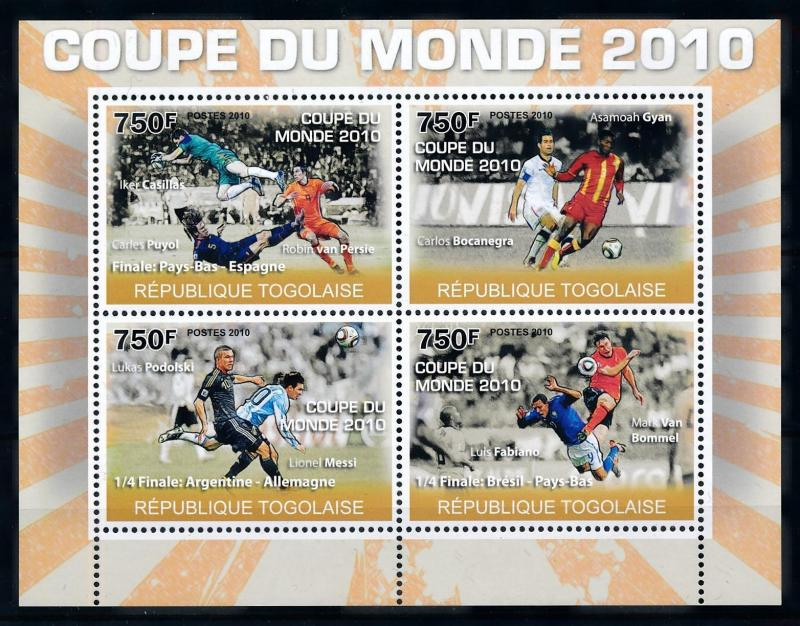 [76905] Togo 2010 World Cup Football South Africa Messi Puyol van Persie  MNH