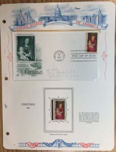 #1336 Christmas FDC and MNH Single in mount on souvenir page