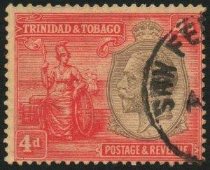 TRINIDAD & TOBAGO-1922-28 4d Black & Red/Pale Yellow Sg 216 FINE USED V48463