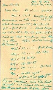 Lot of 8 Postal Chess postcards Hartford CT > Riverside CA 1953 air mail