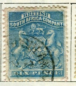 RHODESIA; 1890 early South Africa Company issue used 6d. value