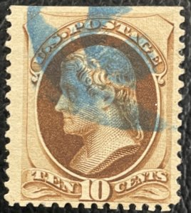 US # 188 Used w/Blue Cancel and Straight Top 1879 SCV~$30 [$059]