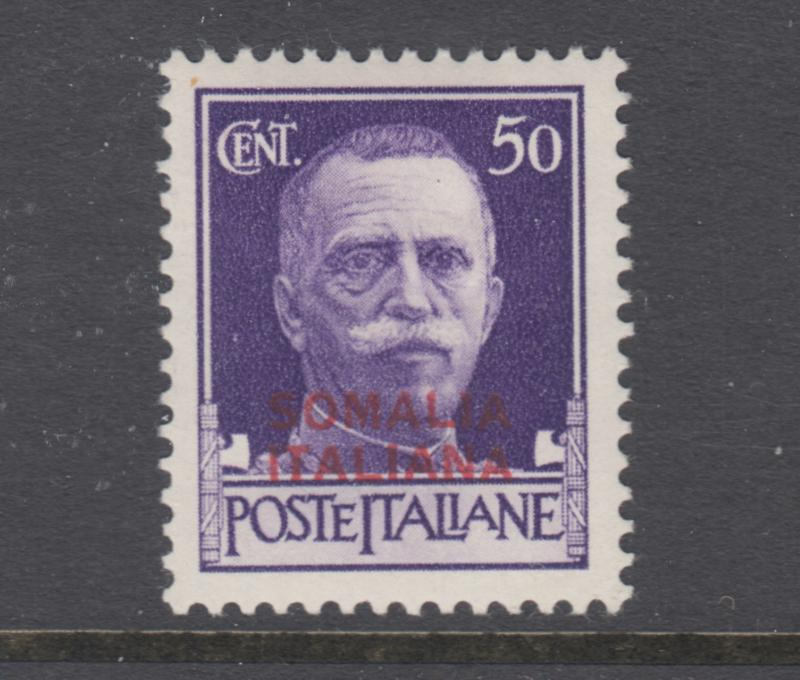 Somalia Sc 137 MLH. 1931 50c bright violet stamp of Italy with 2 line red ovpt