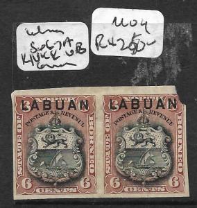 LABUAN (P0204B)  6C ARMS LION IMPERF PR SG 67A UR CORNER ROUNDED MOG
