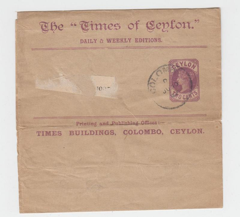 CEYLON QV 2c TIMES OF CEYLON WRAPPER, JU 10 CDS