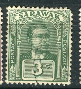 SARAWAK; 1918 early C. Brooke issue fine used 3c. value