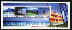 NEVIS 1181 MNH S/S SCV $0.90 BIN $0.50 MILLENNIUM 2000