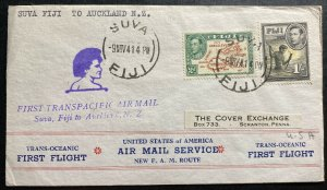 1941 Suva Fiji First Flight Cover FFC To Auckland New Zealand Transpacific