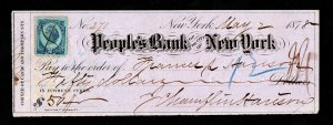 U.S. REVENUE STAMP SCOTT #R152 ON PEOPLE'S BANK OF NEW YORK CASHED CHECK 1878
