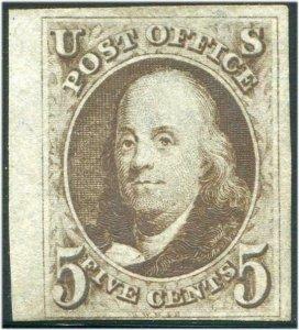 HERRICKSTAMP UNITED STATES Sc.# 1A 1847 Franklin 5¢ w/ Sheet margin, Fine NG
