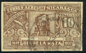 NICARAGUA 1937 10c NICARAO IMPERF. Airmail Issue Sc C219a VFU
