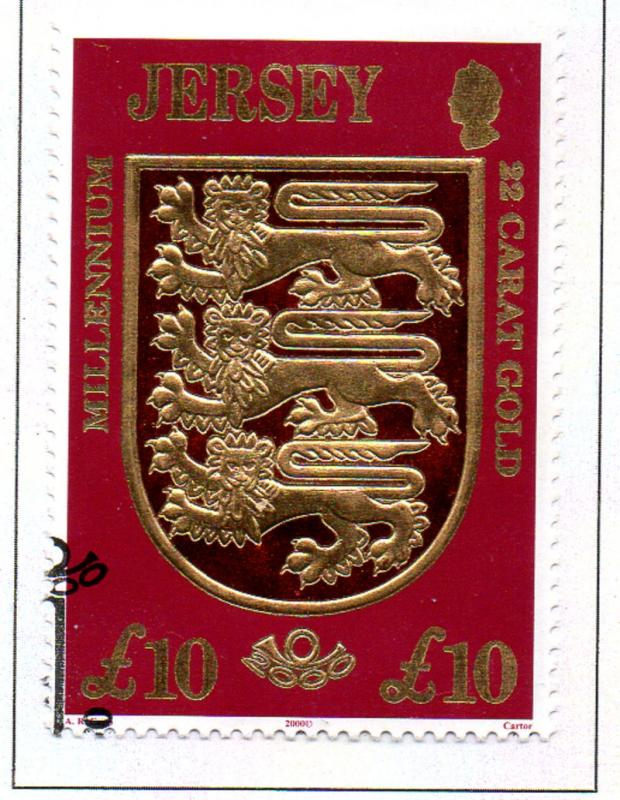 Jersey  Sc 933 2000 £10 Lions Coat of Arms stamp used