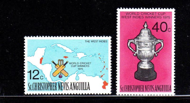 ST. KITTS- NEVIS #322-323  WORLD CRICKET CUP  MINT  VF NH  O.G