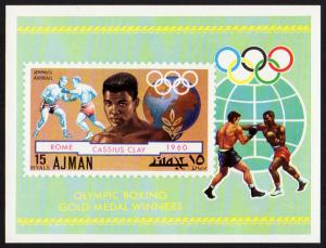 Ajman Mi Block 308 (#1060) mnh s/s -1971- Boxing Gold 1960 - Cassius Clay - Ali