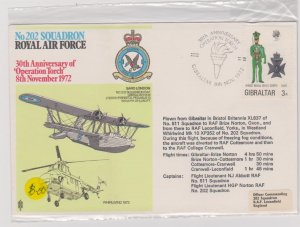 Gibraltar Sc#287 Special Cover RAF Squadron 202 Operation Torch 30th Anniversary