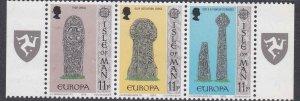 Isle of Man #136a strip of 3 F-VF Mint NH ** Europa