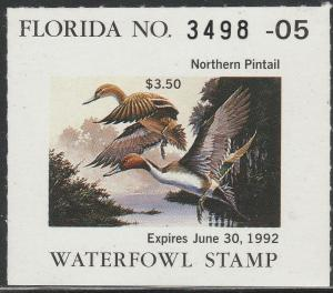 U.S.-FLORIDA 13a, STATE DUCK HUNTING PERMIT STAMP WITHOUT TAB. MINT, NH. VF