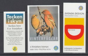 Sweden Sc 2396, 2498, 2504, intact booklets. 2000-2005 issues, 3 different, VF.