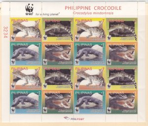 Philippines: Sc #3369-3372, MNH, W.W.F. Crocodiles (S18913)