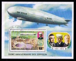 Malagasy (Madagascar) 1976 Graf Zeppelin 75th Anniversary Aviation Sheet - Used