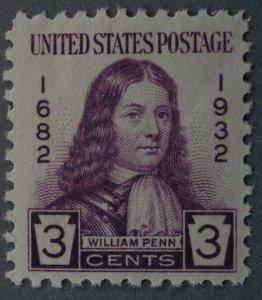 United States #724 William Penn MNH