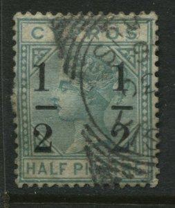 Cyprus QV 1882 1/2 on 1/2 piastre Type 2 used