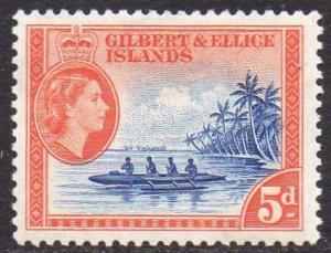 Gilbert & Ellice Islands 1956 5d Ellice Islands canoe MH