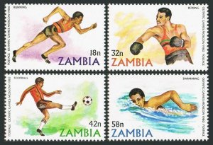 Zambia 216-219,MNH.Michel 225-228. Olympics Moscow-1980.Soccer,Running,Swimming,