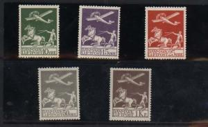 Denmark #C1 - #C5 VF/NH Airmail Set