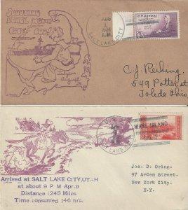 US Naval Cover USS Salt Lake City  CA 25  1934 Cape Cod, 1935 Pony Express