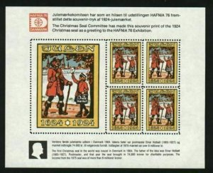 Denmark. Christmas Seal 1976. Block Reprint 1924 Mnh. Post 300 Year 1624-1924.