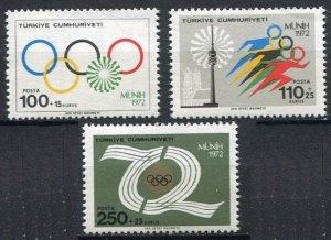 1972 Turkey 2261-2263 1972 Olympic Games in Munchen