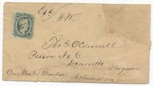 CSA POW Turned Cover Scott #11 Danville, VA Manuscript Cancel 1863