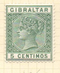 Gibraltar Sc 29 1889 5 centimos green Victoria stamp mint