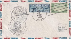 1937, 1st Flt., Guam to Macao, Back Stamped Macao (41462)