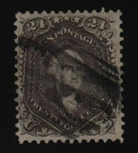 1862  Sc 78a used definitive single Dark Grey Violet  with Certificate CV $400