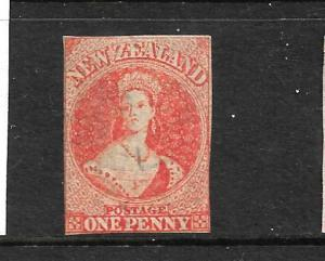 NEW ZEALAND 1862-64 1d ORANGE VERMILLION  FFQ  IMPERF MLH  CP A1E1  SG 33 CHALON