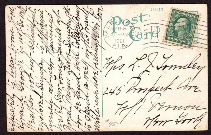 $Florida Machine Cancel Cover, Palm Beach, 3/8/1921, RP in Die space