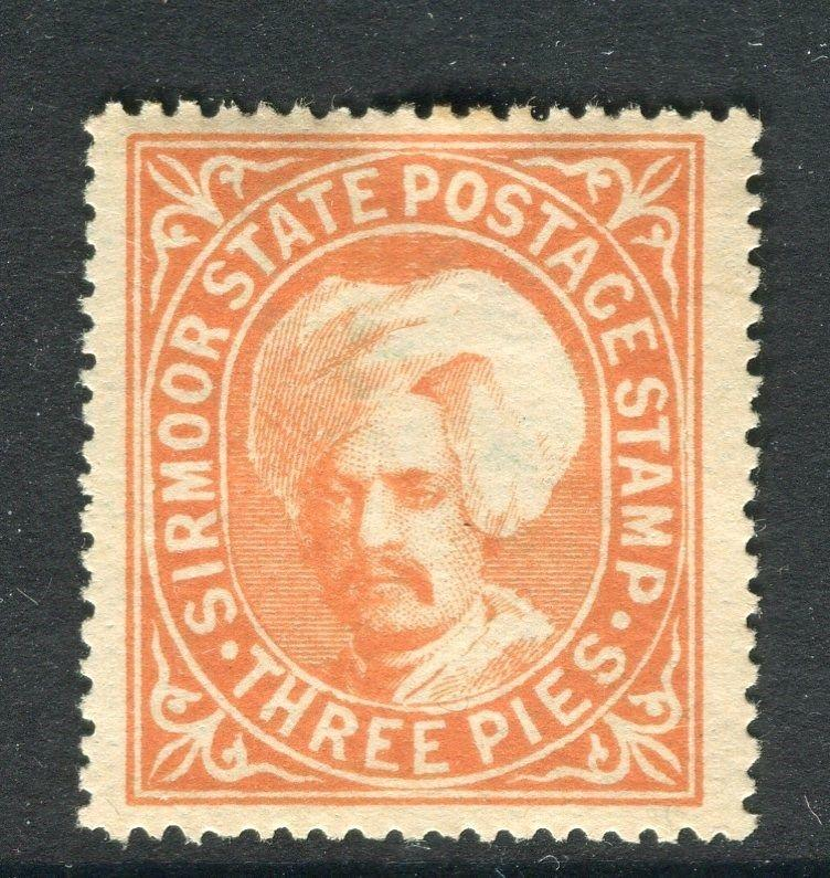 INDIA  SIRMOOR 1888 classic issue Mint hinged 3p. value ( quite heavy hinge )