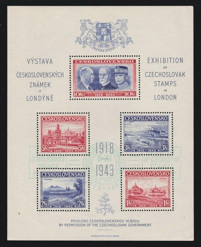 Czech 1943 Exhibition of Czechoslovak Stamps in London Souvenir Sheet OG NH