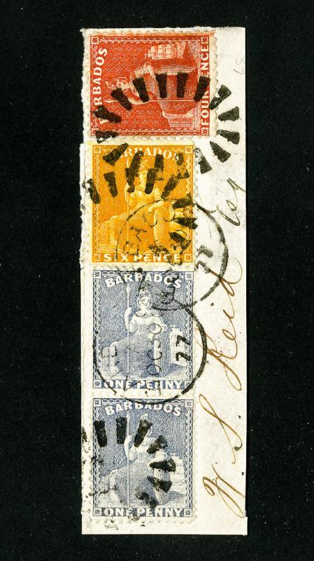 Barbados Stamps 4x Stamps Tied to Nice Piece