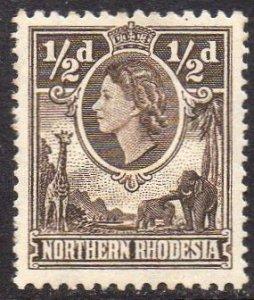 Northern Rhodesia 1953  ½d deep brown MH