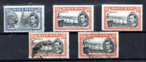 Nigeria KGVI 1938 2s 6d & 5/- mint & used with Perf variety WS16676