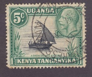 Kenya Uganda & Tanzania 47a Used 1935 5c Green Type II Dhow on Lake Victoria