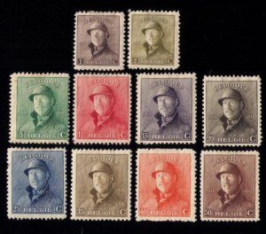 BELGIUM Sc #126-133, INCOMPLETE SET OF 10,MH, King Albert In Trench Helmet Types
