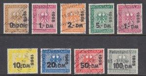 Germany, Bundesrepublik BRD 1965, 1966 Patent Office fiscals, 9 different, used.