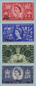 OMAN 52 - 55  MINT NEVER HINGED OG ** CORONATION - TONE SPOTS - V257