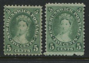 New Brunswick QV 1860 5 cents 2 very nice distinct shades unused no gum
